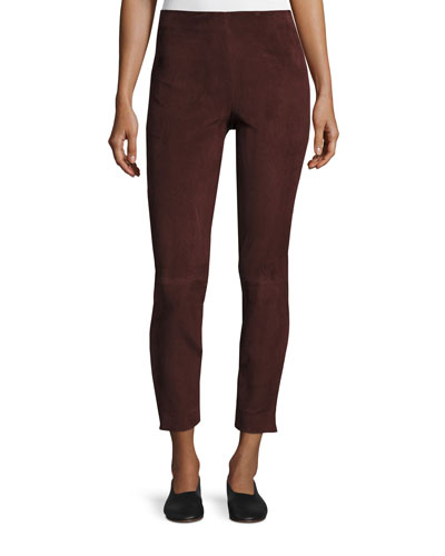 Stretch-Suede Cropped Pants, Raisin