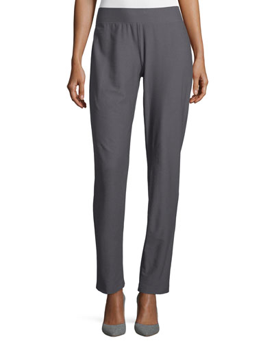Washable-Crepe Straight-Leg Pants, Ash, Plus Size
