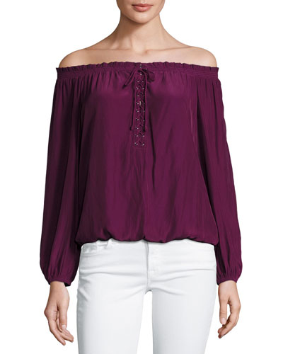 Jill Off-the-Shoulder Lace-Up Blouse, Sangria