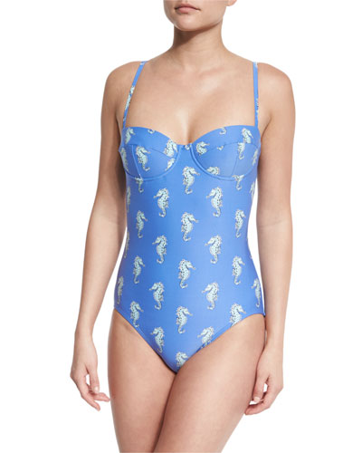 champagne reef seahorse-print underwire one-piece swimsuit