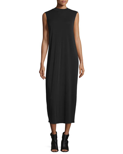 Funnel-Neck Sleeveless Silk Dress, Black