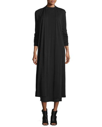 Calf-Length Silk Kimono Cardigan, Black