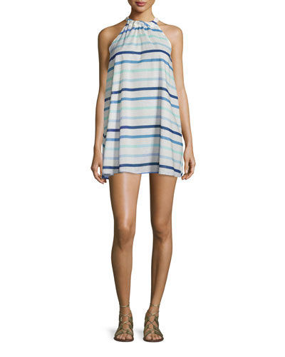provincetown striped halter shift dress