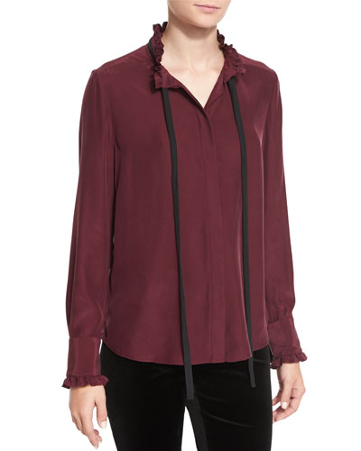 Ruffle Neck Long-Sleeve Blouse, Mahogany