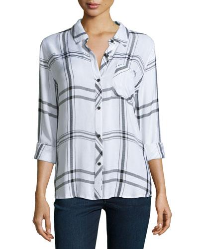 Hunter Plaid Long-Sleeve Shirt, White/Jet