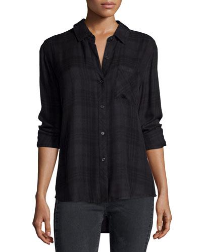 Hunter Plaid Long-Sleeve Shirt, Carbon/Black