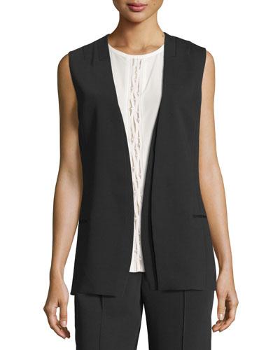 Layered Open-Front Sleeveless Jacket, Black