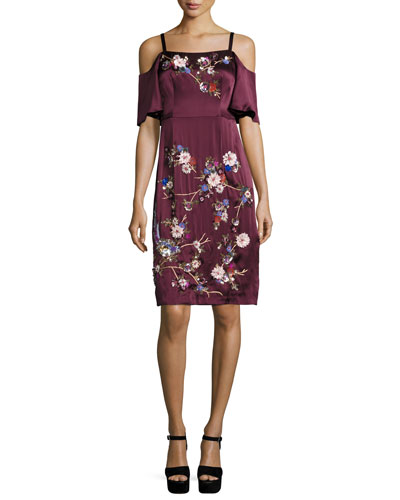 Embroidered Cold-Shoulder Silk Satin Dress, Wine/Multicolor