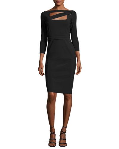 Peekaboo Cutout Sheath Dress, Nero (Black)