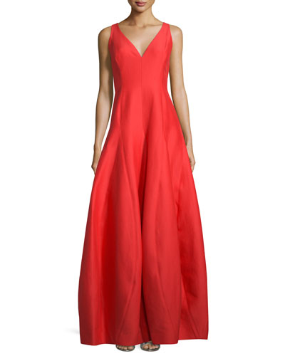 Sleeveless V-Neck A-Line Gown, Lipstick
