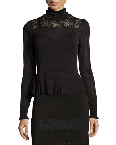 Marge Lace-Yoke Turtleneck Top