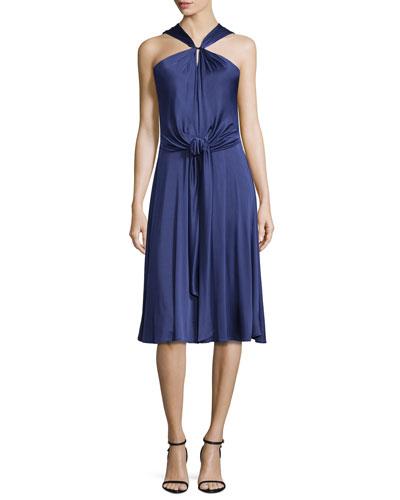 Gathered-Neck Sleeveless Dress, Elderberry