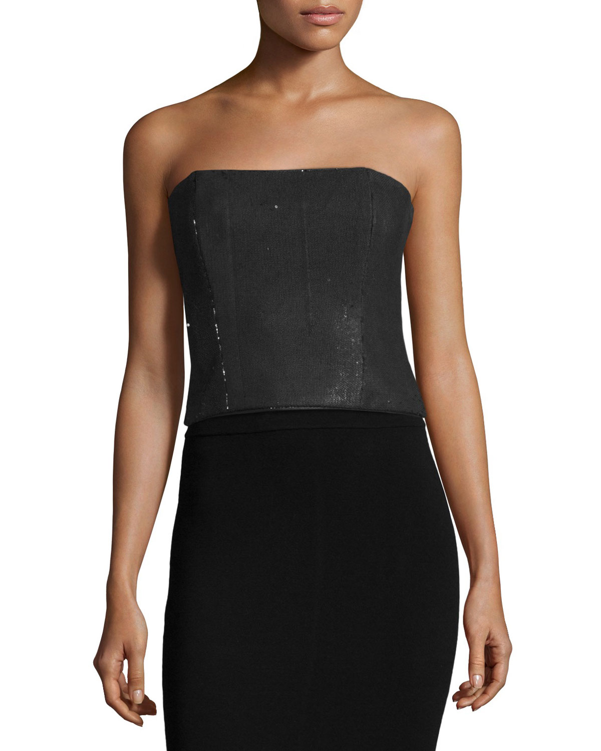 Strapless Sequined Top, Black/Velvet