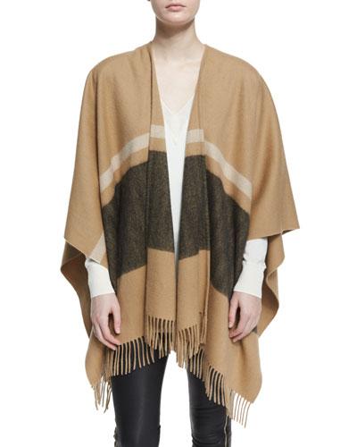 Varsity Stripe Wool Felt Wrap, Camel