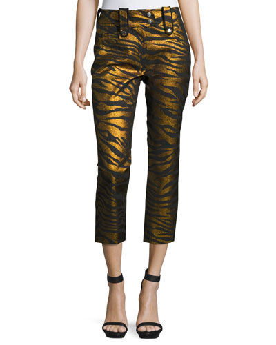 Metallic Tiger Stripe High-Rise Pants, Black/Gold