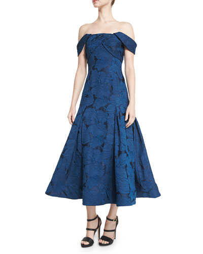 Off-the-Shoulder Leaf Jacquard Midi Dress, Blue Sapphire