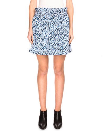 Double-Face Popcorn Jacquard A-Line Skirt, Midnight Blue