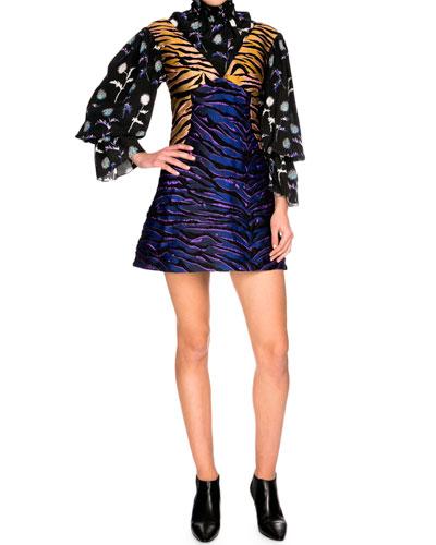 Tiger Stripe Structured A-Line Mini Dress, Midnight Blue