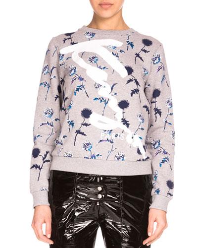 Dandelion Crewneck Pullover Sweatshirt, Pale Gray