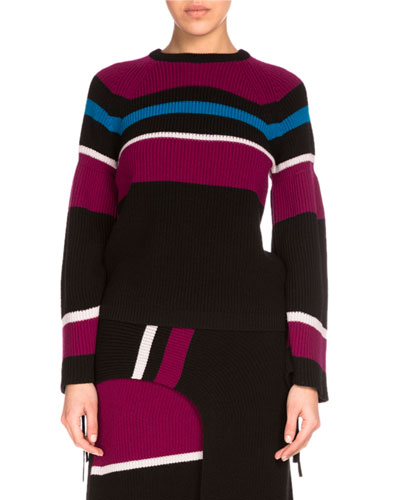 Ribbed Striped Wool Sweater, Black