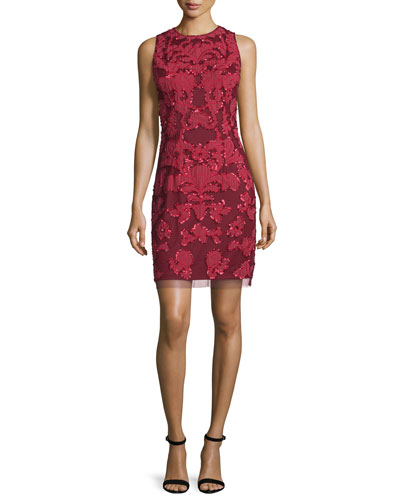 Embroidered Cocktail Sheath Dress, Garnet