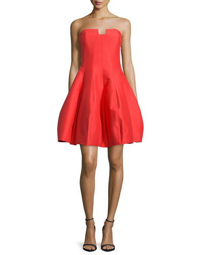 Strapless Sweetheart-Neck Party Dress, Lipstick