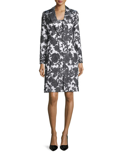 Sleeveless Floral Jacquard Dress w/ Jacket, Black/Creme