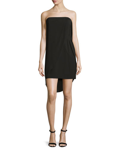 Strapless Draped Sheath Dress, Black