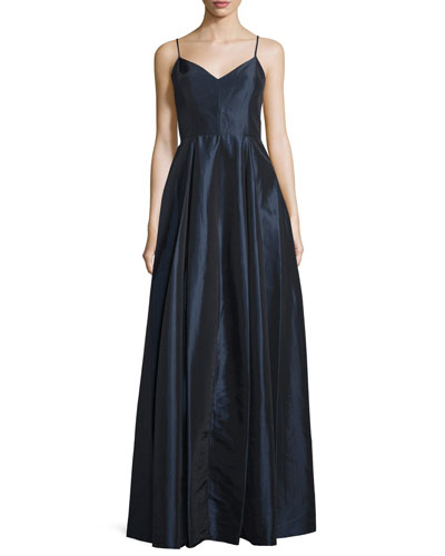 Sleeveless V-Neck Ball Gown, Navy