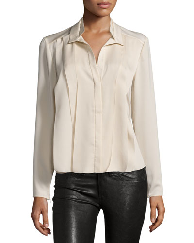 Pleated Long-Sleeve Blouse, Buffs