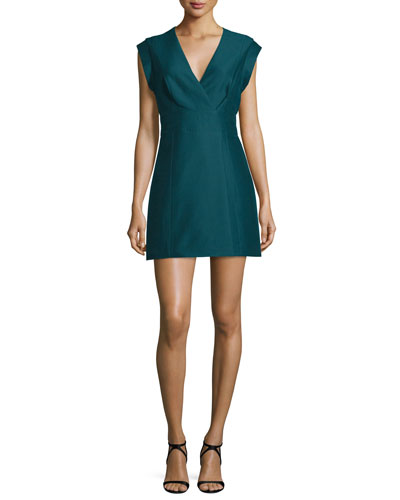 Cap-Sleeve Faux-Wrap Mini Dress, Spruce