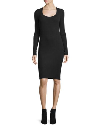 Long-Sleeve Stretch Jersey Dress, Black