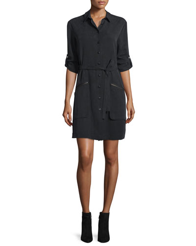 Long-Sleeve Belted Shirtdress, Black