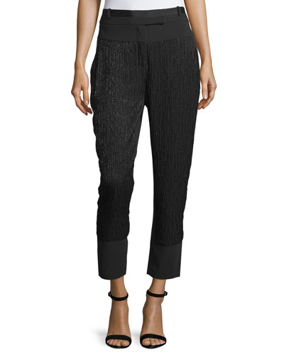 Mid-Rise Embellished-Stripe Cropped Pants, Black