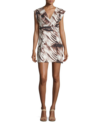 Printed Cap-Sleeve Faux-Wrap Dress, Black Whisp
