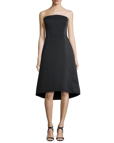 Strapless Structured Dress, Black