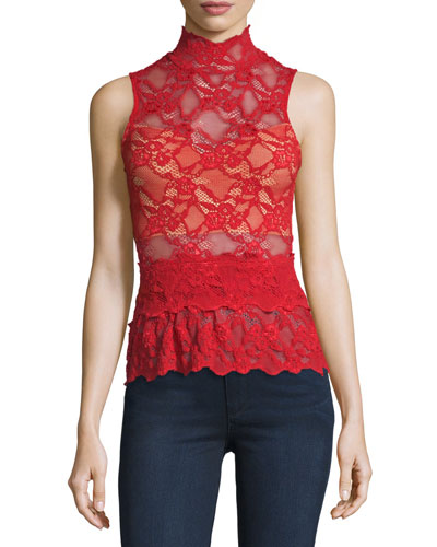 Lace Peplum Sleeveless Top, Scarlett