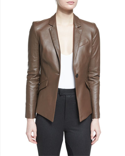 Asymmetric Leather Blazer, Smoke