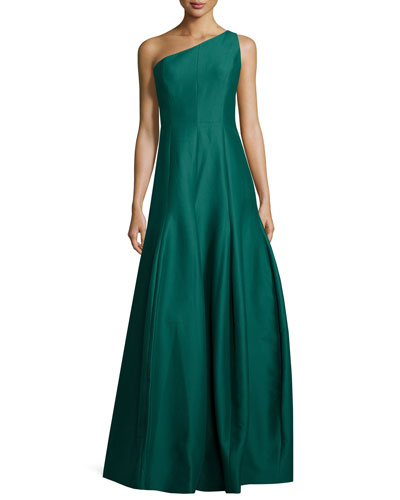 One-Shoulder Structured Ball Gown, Evergreen