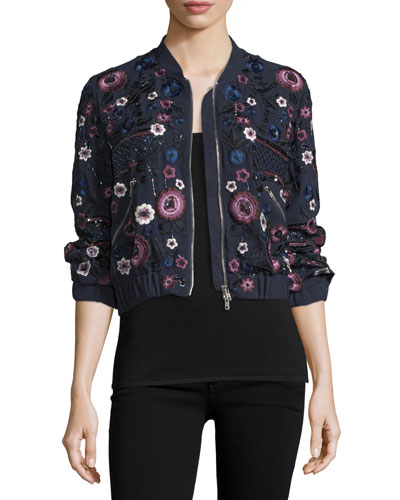 Folk Embellished Floral-Embroidery Bomber Jacket, Midnight Multi