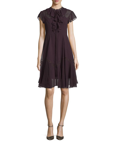 Victorian Cap-Sleeve Ruffle Dress, Aubergine