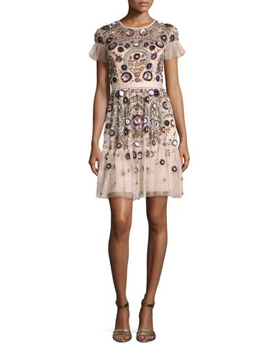 Enchanted Floral-Embellished Short-Sleeve Gown