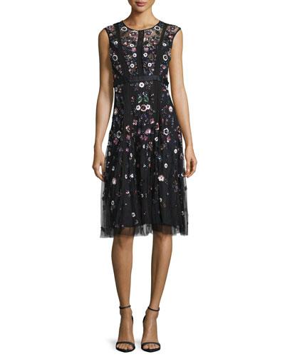 Embellished Floral Tulle-Skirt Dress