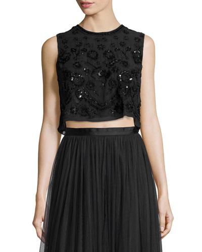 Embellished Floral-Embroidery Crop Top, Black/Black
