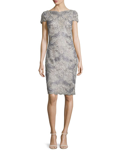 Cap-Sleeve Floral Embroidered Sheath Dress, Light Pearl