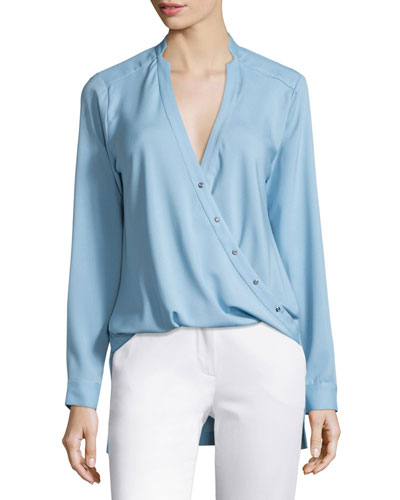 High-Low Wrap Blouse, Glacier