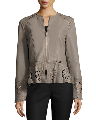 Laser-Cut Fit-&-Flare Lambskin Leather Jacket, Taupe
