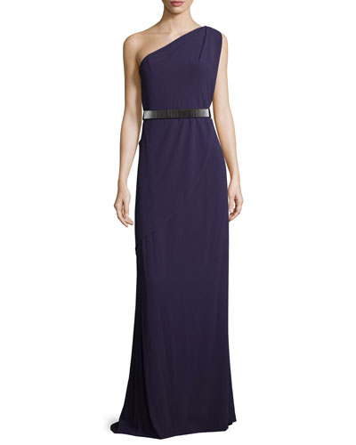 One-Shoulder Belted Gown, Elderberry