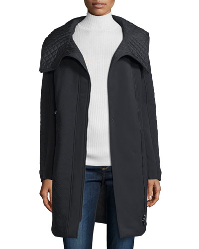 Hooded Asymmetric-Zip Parka, Nero