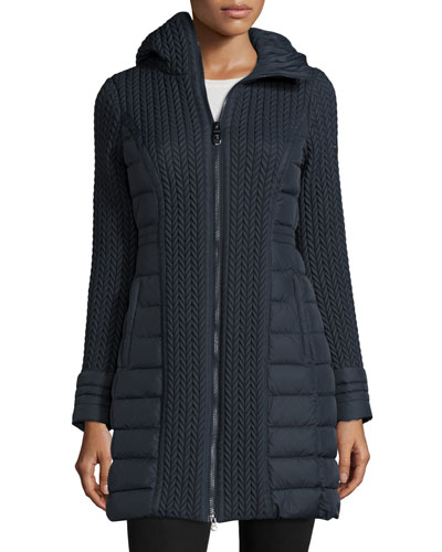 Mesa Cable-Quilted Puffer Coat, Navy